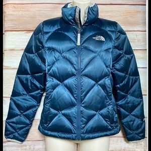 North Face 550 Navy & Gray Quilted Puffer Coat XS